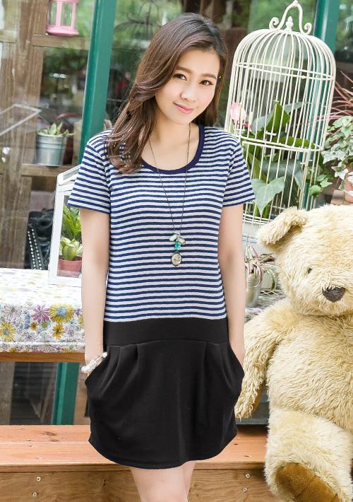 休閒主張韓版條紋口袋連身洋裝M~L