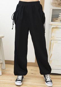 熱賣兩側口袋寬版棉褲