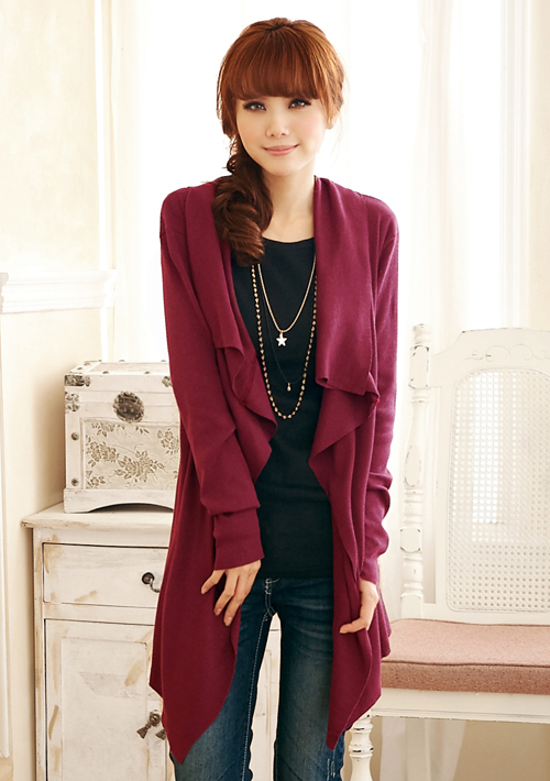 韓版時尚開襟不規則長版外套
