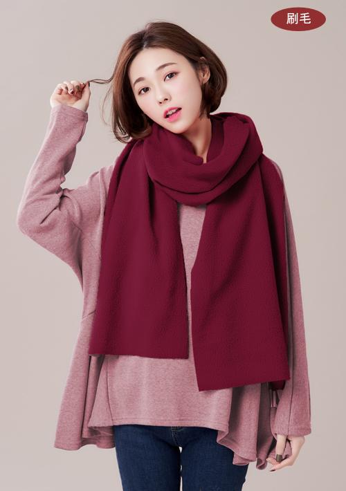 暖意雙面刷毛長版圍巾