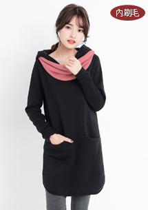 韓版配色圍巾刷毛洋裝