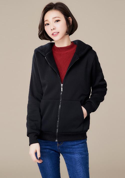暖暖毛茸連帽口袋外套