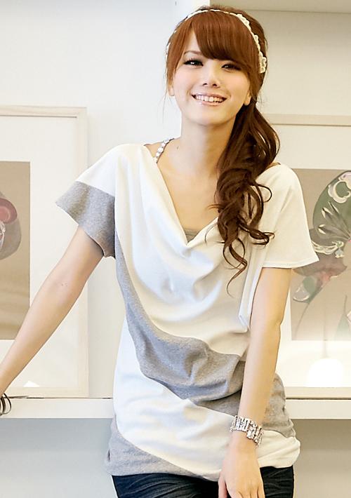 首爾聚焦配色大垂領設計長上衣