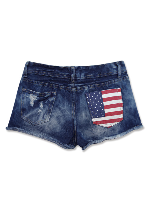 美式搖滾國旗刷破鬚邊短褲