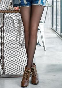 2件組-純色透膚感不易勾紗美腿絲襪
