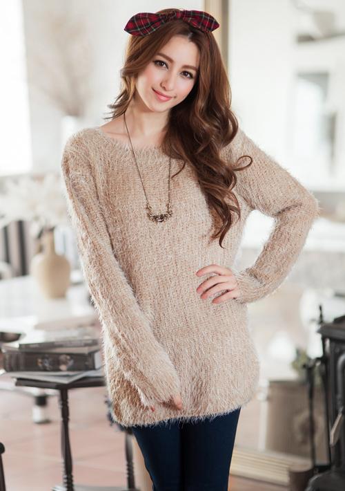 溫暖印象混色粗針織毛衣
