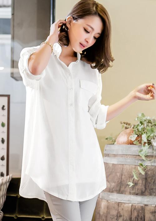反折釦純色雪紡襯衫