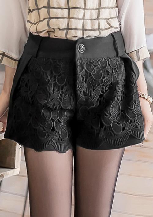 時尚魅力雕花蕾絲口袋短褲