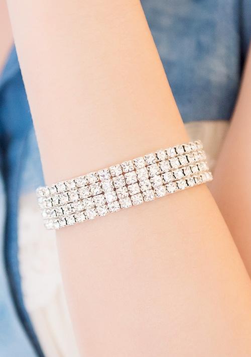 華麗風情亮鑽寶石彈性手環