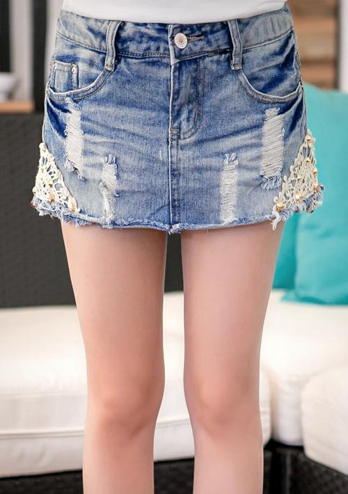 玩美單寧雕花蕾絲釘釦牛仔短褲裙S~XL