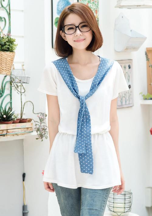 日雜揭載圓點領巾針織洋裝