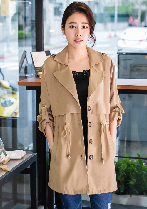 微醺蜜桃絨反折袖外套