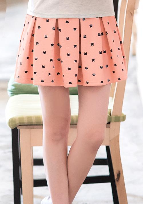 輕甜滋味貓咪印圖傘擺褲裙
