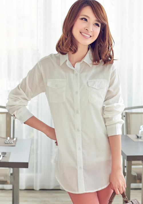 戀人悸動口袋長版襯衫