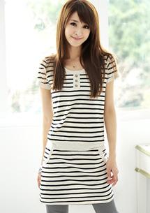休閒韓款圓領3釦條紋洋裝