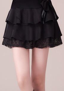 蝴蝶結毛呢蕾絲蛋糕裙