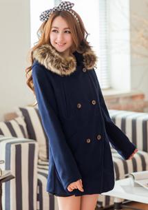 英倫魅力排釦毛料大衣
