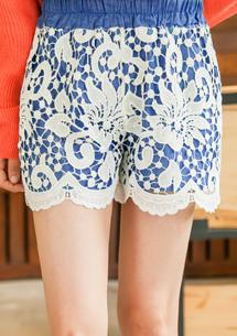 優雅迷戀鈎織雕花牛仔短褲