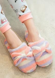 可愛蝴蝶結保暖室內拖鞋