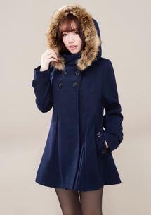 名媛質感毛料雙排釦連帽大衣