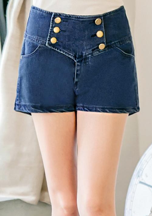 個性Style排釦高腰牛仔短褲M~XL