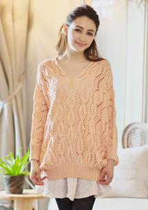 微美鏤空寬袖針織上衣
