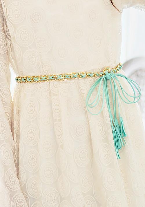 時尚編織鏈條流蘇腰帶