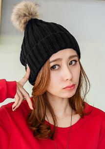 麻花編保暖絨球針織帽