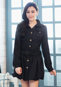 名媛特質排釦洋裝式毛呢外套