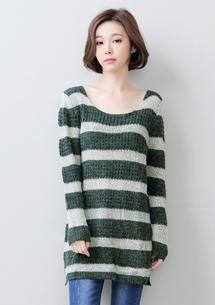 經典圓領條紋長版毛衣