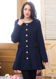 日系甜美蕾絲蠂結洋裝式外套