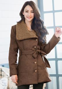 時尚經典針織領毛呢外套