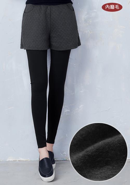 假兩件菱格紋保暖內搭褲