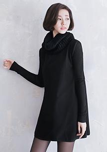 針織拼接袖造型洋裝