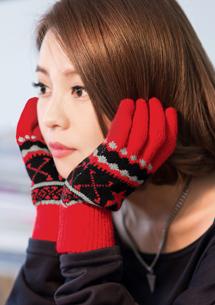 溫暖冬季星星緹花觸控手套