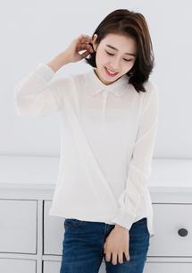 韓版百搭蕾絲領雪紡衫