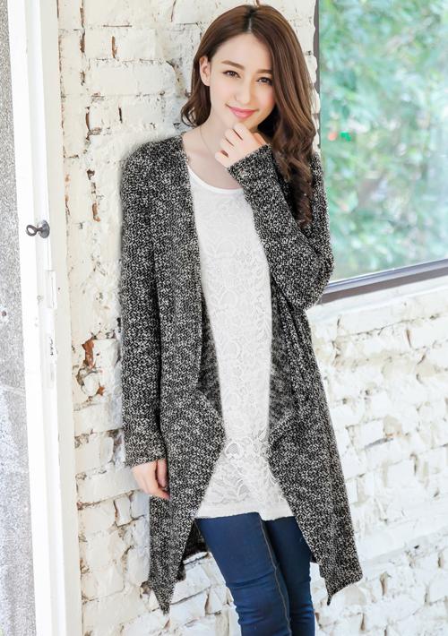 雅致假兩件蕾絲針織長外套