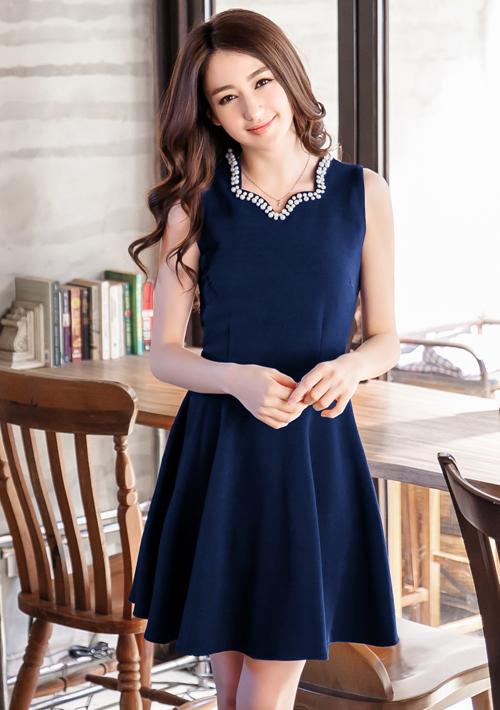 典雅珍珠領造型無袖洋裝