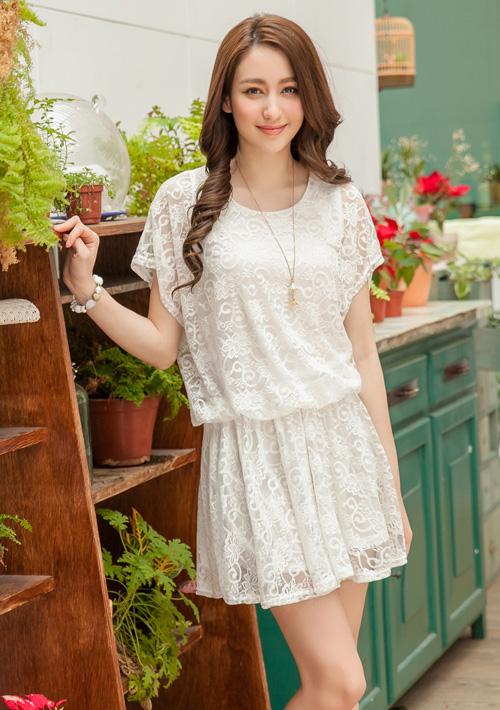 唯美韓版透膚蕾絲洋裝