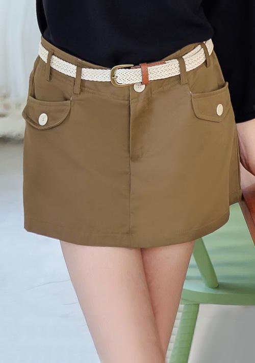 率性雙口袋休閒短褲-附腰帶