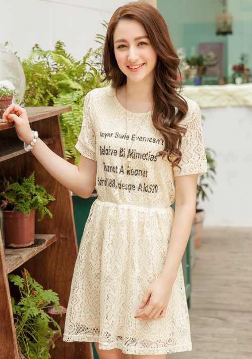 簡約字母印花蕾絲洋裝M~L