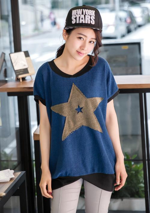 星星拼布造型短袖上衣