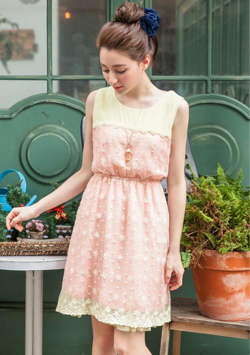 韓系精緻網紗蕾絲配色洋裝