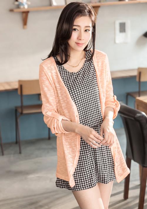 韓風V領混紡針織外套