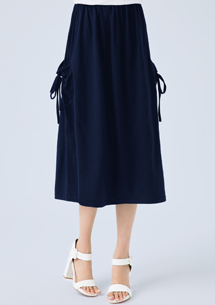 【限時$129】綁繩口袋休閒棉裙