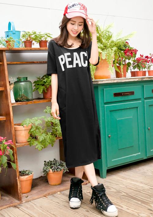 舒適慵懶條紋口袋長洋裝