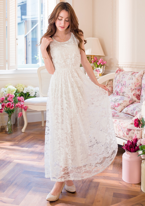 優雅蕾絲無袖長洋裝