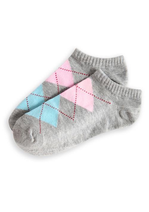 輕甜活力菱格短襪