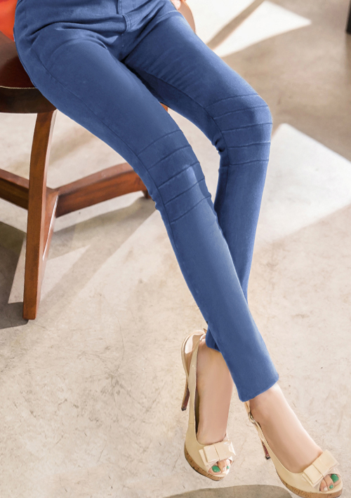 激瘦膝造型牛仔鉛筆褲