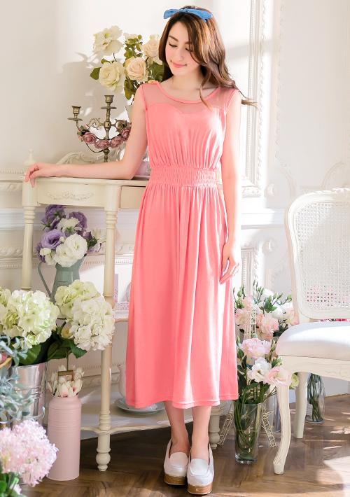 柔美綻放純色網紗顯廋洋裝